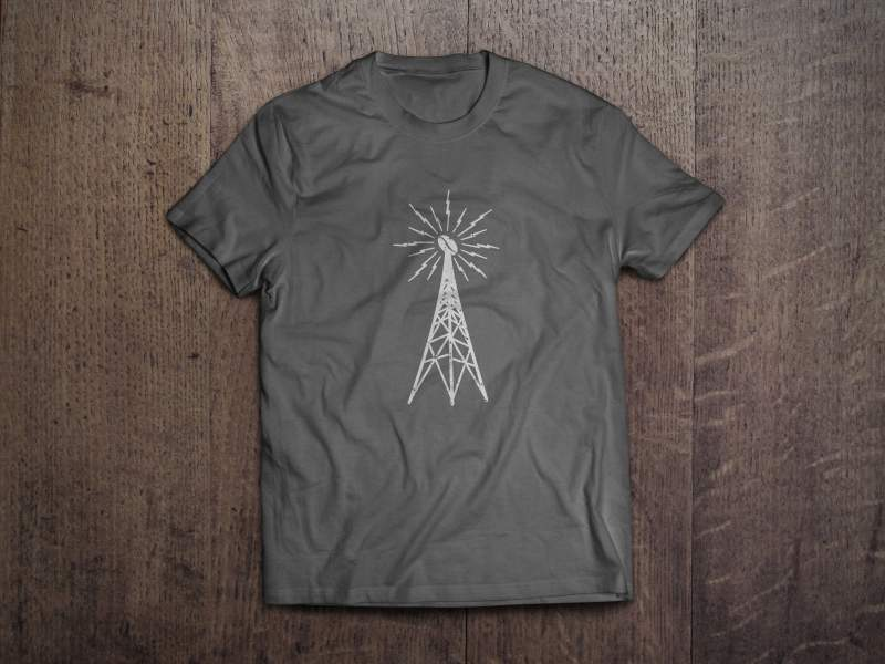 Shortwave Coffee Radio Tower Logo T Shirt